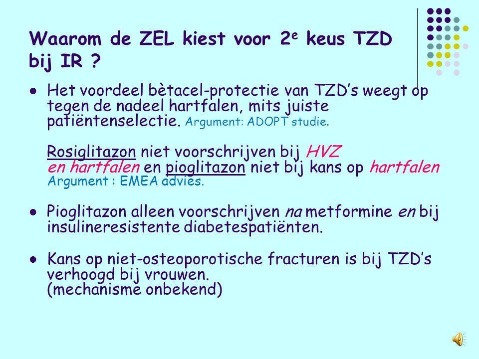 Duurzaamheid normoglycaemie van TZD's (ADOPT) Blauw= SUD Oranje Metformine Geel = TZD
