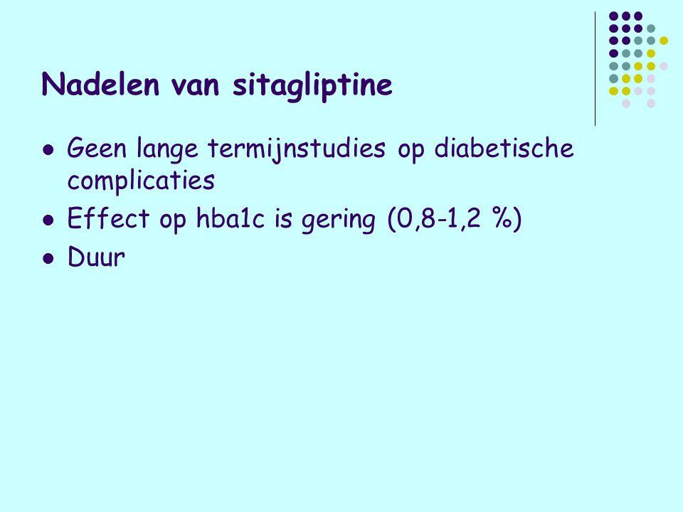 Voordelen van sitagliptine Werkt alleen als het nodig is (glucoserijke maaltijd) dus geen kans op hypoglycaemie Geen gewichtsvermeerdering (-0,4 kg/jaar) Betacelprotectie Nauwelijks bijwerkingen (soms misselijkheid)
