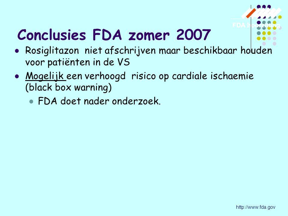 Rosiglitazon niet afschrijven maar beschikbaar houden voor patiënten in de VS Mogelijk een verhoogd risico op cardiale ischaemie (black box warning) FDA doet nader onderzoek.