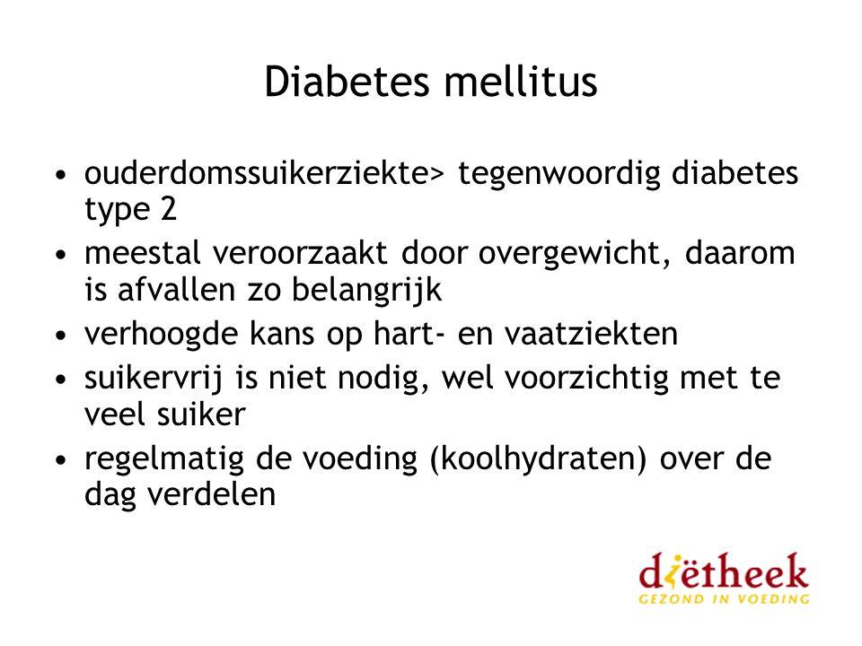 Diabetes mellitus ouderdomssuikerziekte> tegenwoordig diabetes type 2 meestal veroorzaakt door overgewicht, daarom is afvallen zo belangrijk verhoogde