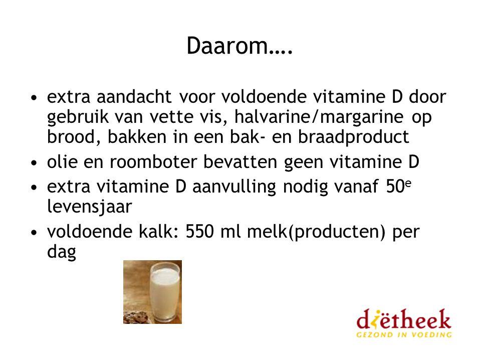 Daarom…. extra aandacht voor voldoende vitamine D door gebruik van vette vis, halvarine/margarine op brood, bakken in een bak- en braadproduct olie en
