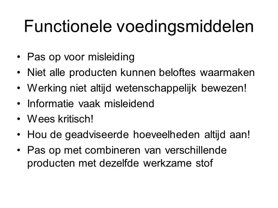 Functionele voedingsmiddelen Pas op voor misleiding Niet alle producten kunnen beloftes waarmaken Werking niet altijd wetenschappelijk bewezen! Inform