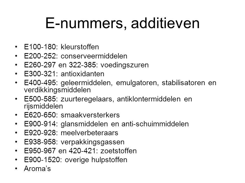 E-nummers, additieven E100-180: kleurstoffen E200-252: conserveermiddelen E260-297 en 322-385: voedingszuren E300-321: antioxidanten E400-495: geleerm