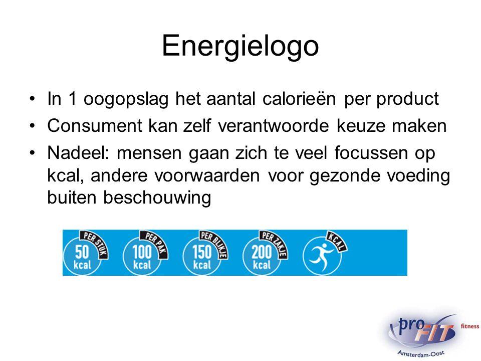 Energielogo In 1 oogopslag het aantal calorieën per product Consument kan zelf verantwoorde keuze maken Nadeel: mensen gaan zich te veel focussen op k
