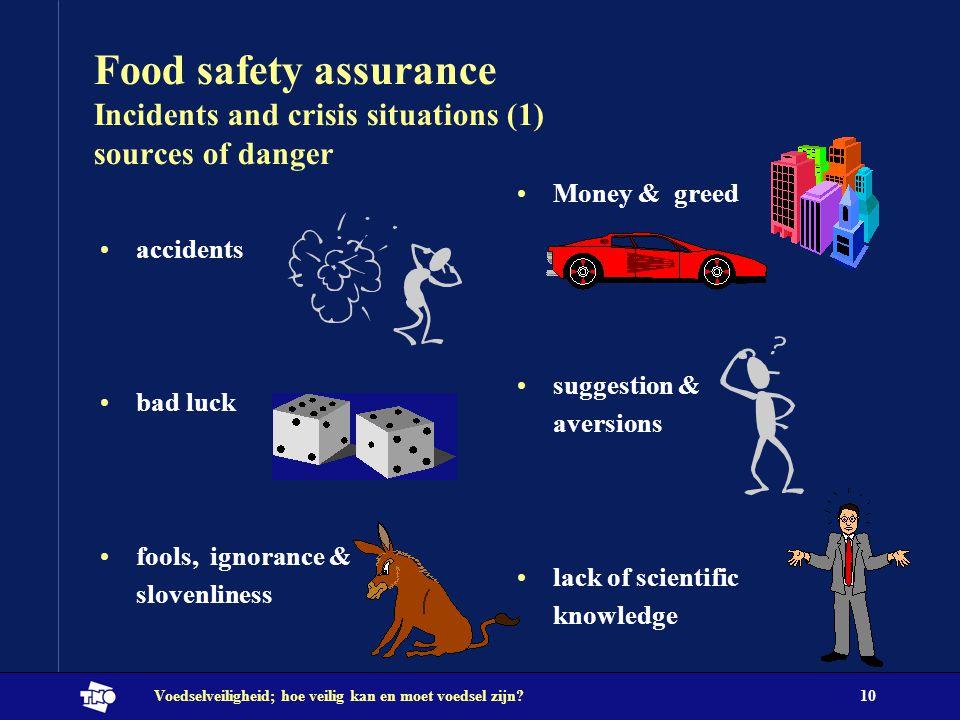 Voedselveiligheid; hoe veilig kan en moet voedsel zijn?10 Food safety assurance Incidents and crisis situations (1) sources of danger Money & greed su