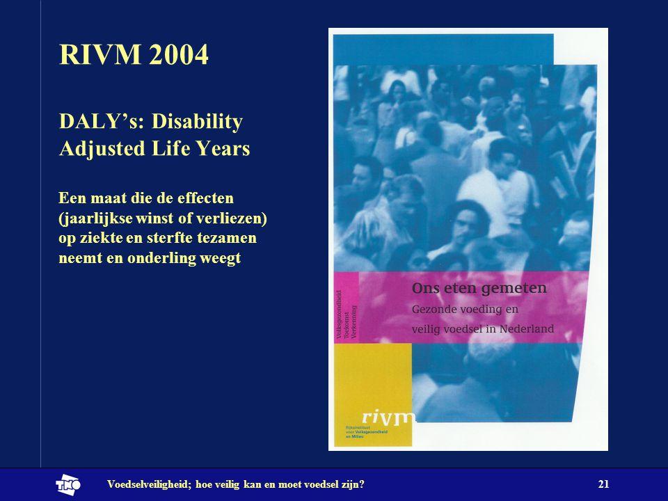 Voedselveiligheid; hoe veilig kan en moet voedsel zijn?21 RIVM 2004 DALY's: Disability Adjusted Life Years Een maat die de effecten (jaarlijkse winst