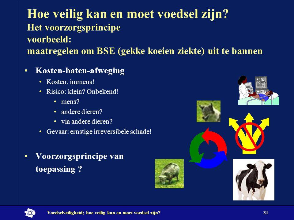 Voedselveiligheid; hoe veilig kan en moet voedsel zijn?31 Hoe veilig kan en moet voedsel zijn? Het voorzorgsprincipe voorbeeld: maatregelen om BSE (ge