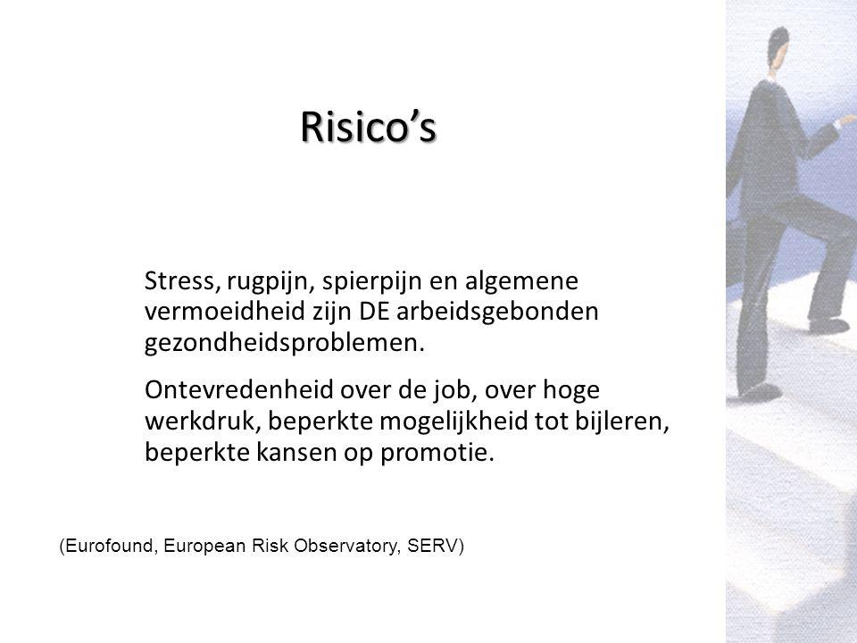 Risico's Stress, rugpijn, spierpijn en algemene vermoeidheid zijn DE arbeidsgebonden gezondheidsproblemen.