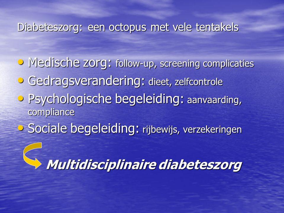Diabeteszorg: een octopus met vele tentakels Medische zorg: follow-up, screening complicaties Medische zorg: follow-up, screening complicaties Gedrags