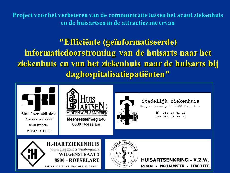 Stedelijk Ziekenhuis Brugsesteenweg 90 8800 Roeselare  051 23 61 11 fax 051 23 66 87 Sint-Jozefskliniek Roeselaarsestraat 47 8870 Izegem  051/33.41.11 Project voor het verbeteren van de communicatie tussen het acuut ziekenhuis en de huisartsen in de attractiezone ervan Efficiënte (geïnformatiseerde) informatiedoorstroming van de huisarts naar het ziekenhuis en van het ziekenhuis naar de huisarts bij daghospitalisatiepatiënten