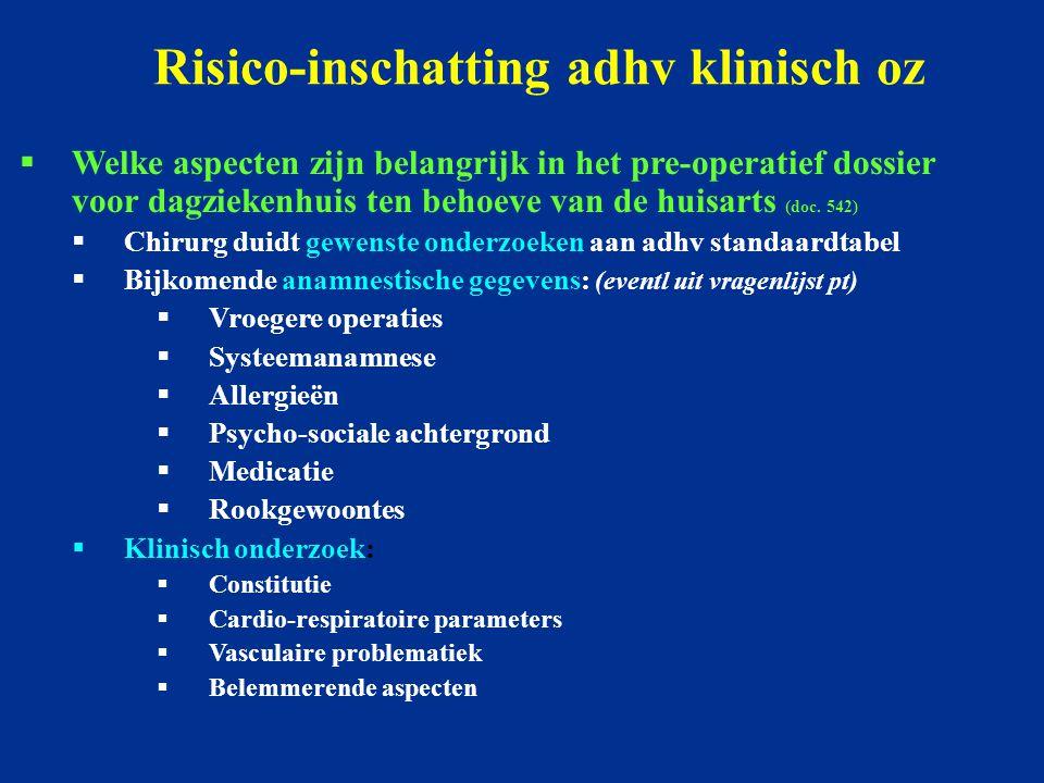 Risico-inschatting adhv klinisch oz  Welke aspecten zijn belangrijk in het pre-operatief dossier voor dagziekenhuis ten behoeve van de huisarts (doc.