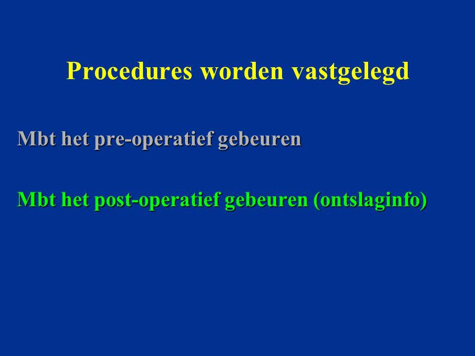 Procedures worden vastgelegd Mbt het pre-operatief gebeuren Mbt het post-operatief gebeuren (ontslaginfo)
