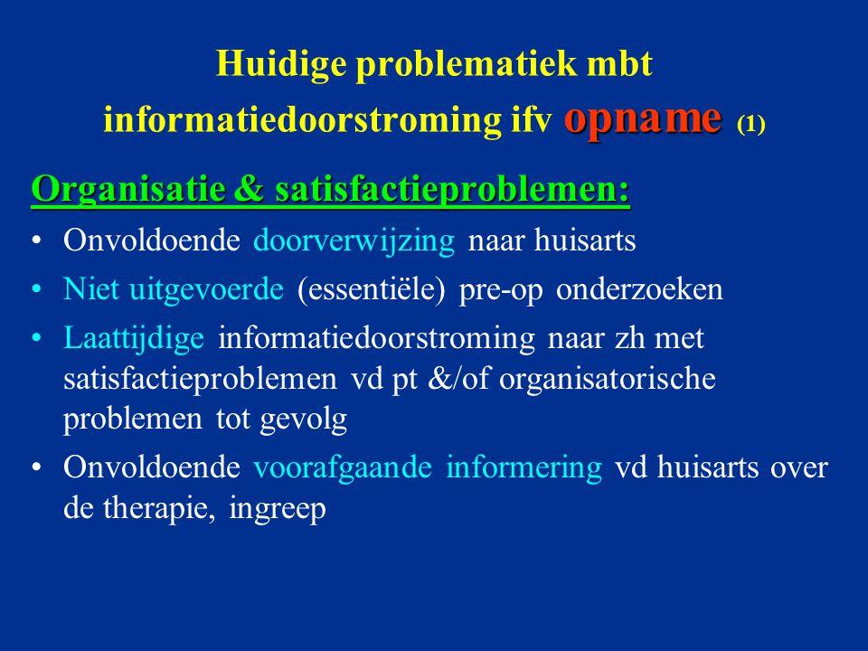 opname Huidige problematiek mbt informatiedoorstroming ifv opname (1) Organisatie & satisfactieproblemen: Onvoldoende doorverwijzing naar huisarts Nie