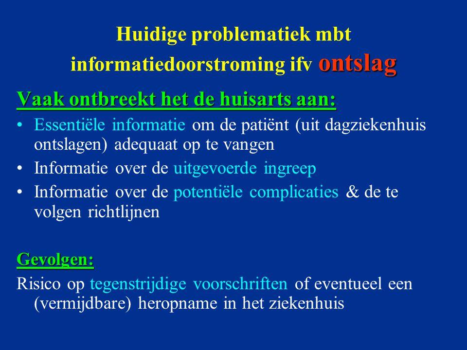 ontslag Huidige problematiek mbt informatiedoorstroming ifv ontslag Vaak ontbreekt het de huisarts aan: Essentiële informatie om de patiënt (uit dagzi