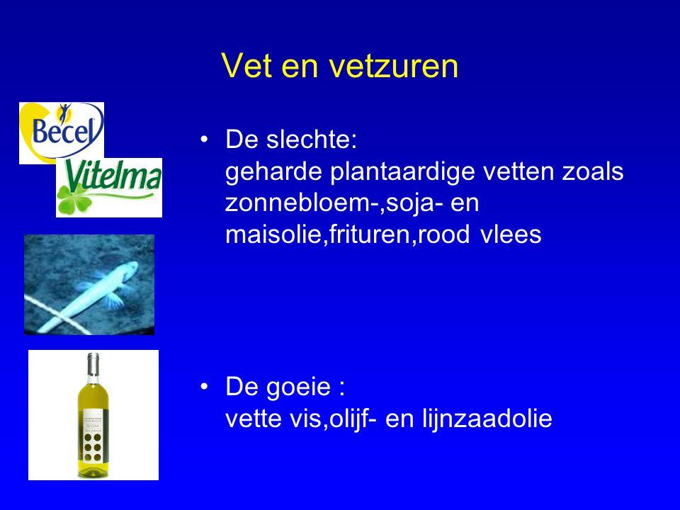 Vet en vetzuren De slechte: geharde plantaardige vetten zoals zonnebloem-,soja- en maisolie,frituren,rood vlees De goeie : vette vis,olijf- en lijnzaa