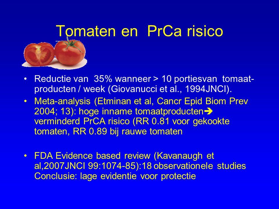 Tomaten en PrCa risico Reductie van 35% wanneer > 10 portiesvan tomaat- producten / week (Giovanucci et al., 1994JNCI). Meta-analysis (Etminan et al,