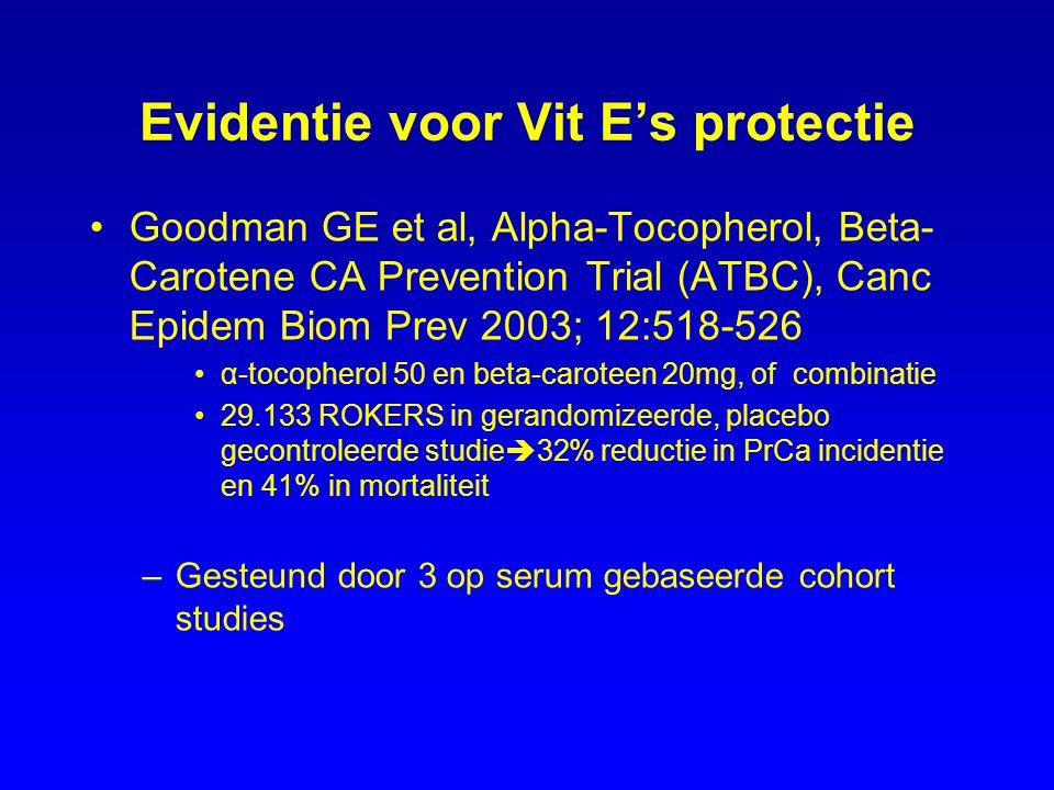 Evidentie voor Vit E's protectie Goodman GE et al, Alpha-Tocopherol, Beta- Carotene CA Prevention Trial (ATBC), Canc Epidem Biom Prev 2003; 12:518-526