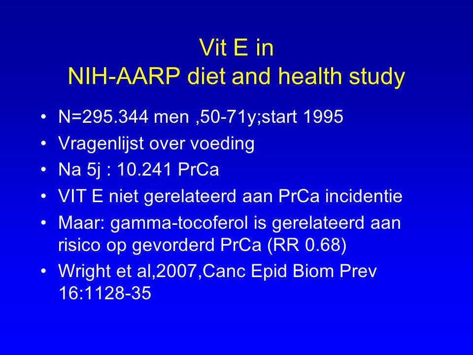 Vit E in NIH-AARP diet and health study N=295.344 men,50-71y;start 1995 Vragenlijst over voeding Na 5j : 10.241 PrCa VIT E niet gerelateerd aan PrCa i