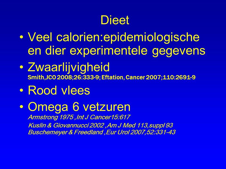Dieet Veel calorien:epidemiologische en dier experimentele gegevens Zwaarlijvigheid Smith,JCO 2008;26:333-9; Eftation, Cancer 2007;110:2691-9 Rood vle