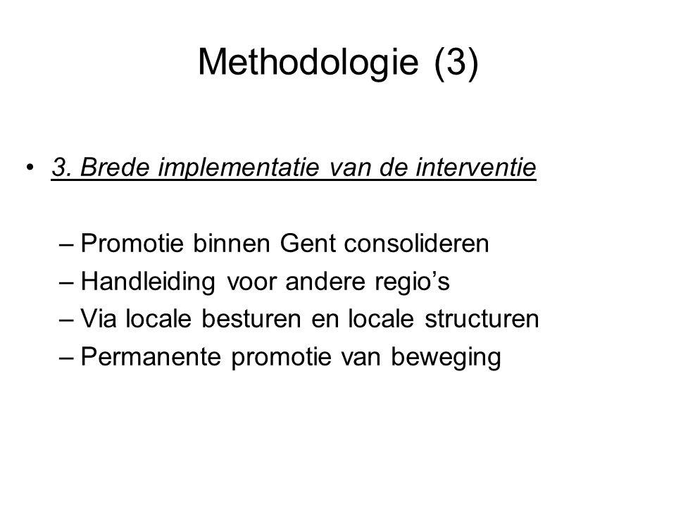 Methodologie (3) 3. Brede implementatie van de interventie –Promotie binnen Gent consolideren –Handleiding voor andere regio's –Via locale besturen en