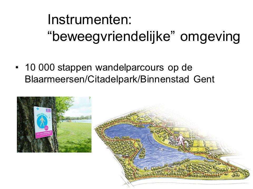 """10 000 stappen wandelparcours op de Blaarmeersen/Citadelpark/Binnenstad Gent Instrumenten: """"beweegvriendelijke"""" omgeving"""