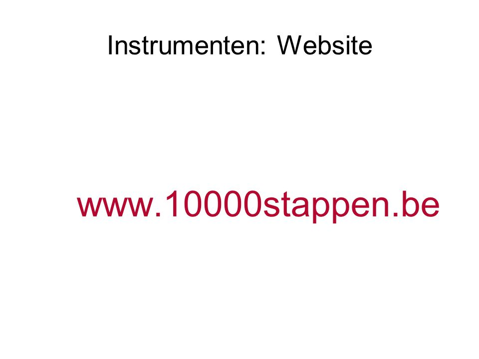 Instrumenten: Website www.10000stappen.be
