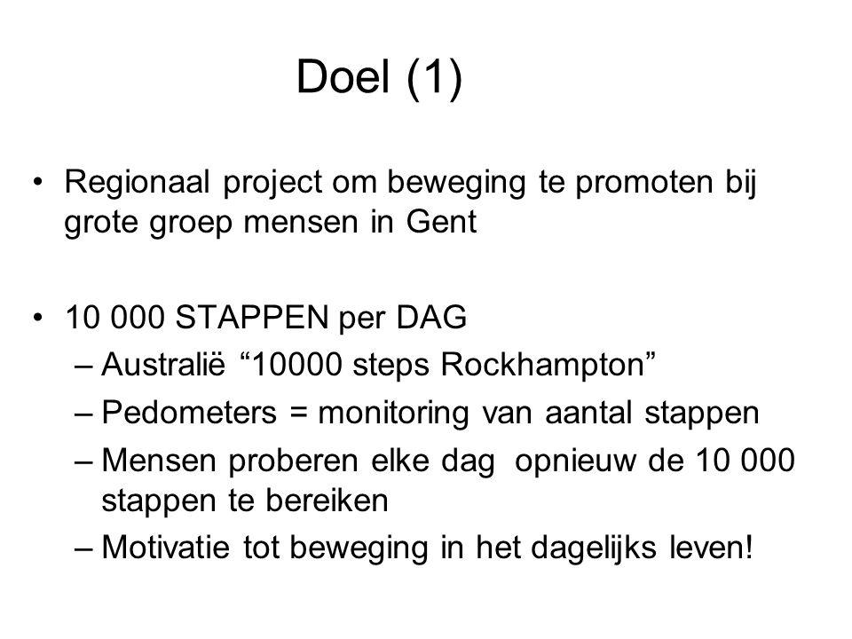 """Doel (1) Regionaal project om beweging te promoten bij grote groep mensen in Gent 10 000 STAPPEN per DAG –Australië """"10000 steps Rockhampton"""" –Pedomet"""