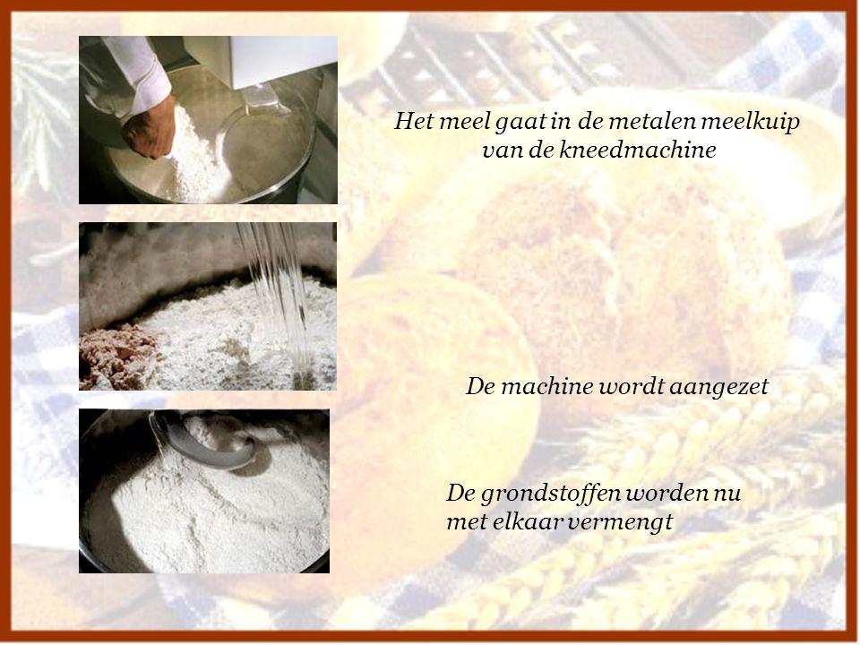 Het meel gaat in de metalen meelkuip van de kneedmachine De machine wordt aangezet De grondstoffen worden nu met elkaar vermengt