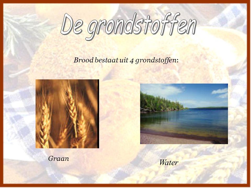 Brood bestaat uit 4 grondstoffen: Graan Water
