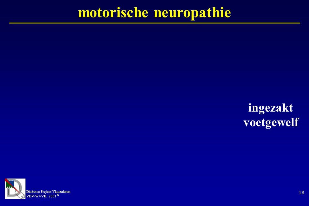 Diabetes Project Vlaanderen VDV-WVVH 2001 © 18 motorische neuropathie ingezakt voetgewelf