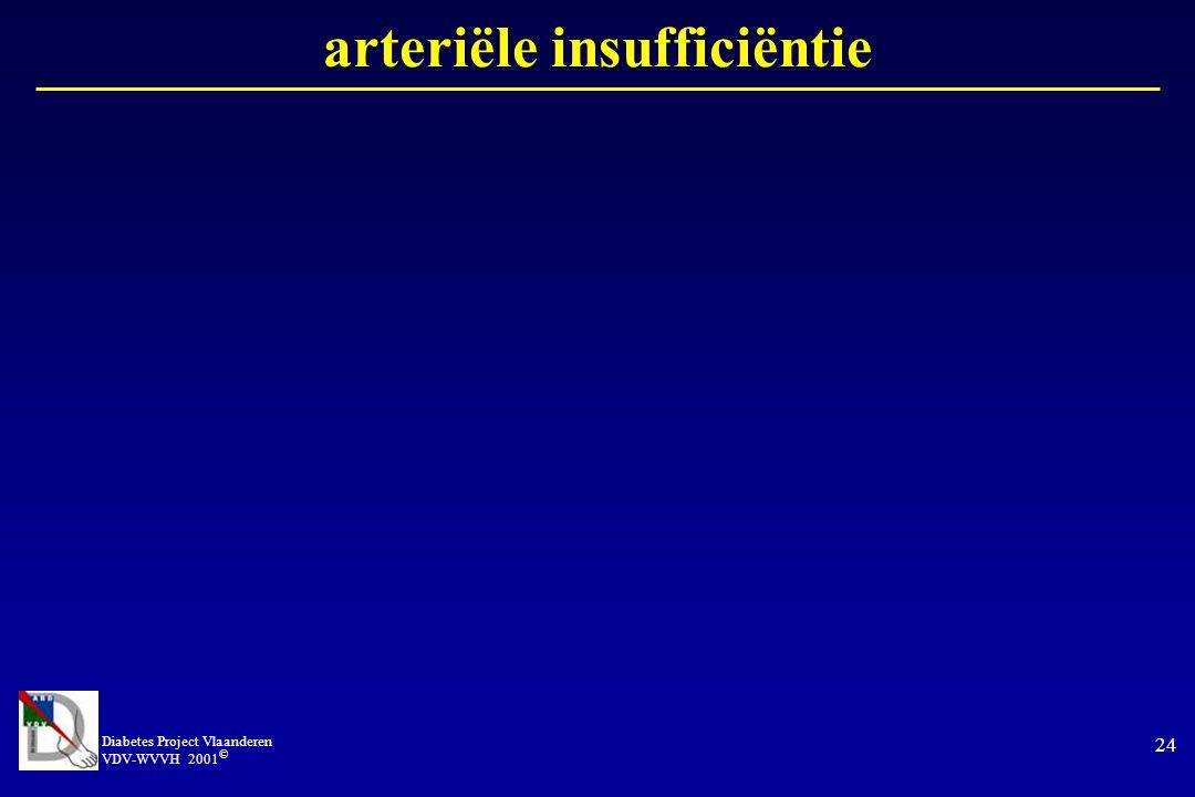 Diabetes Project Vlaanderen VDV-WVVH 2001 © 24 arteriële insufficiëntie