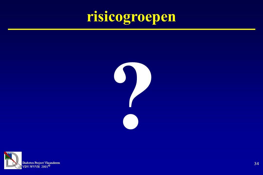 Diabetes Project Vlaanderen VDV-WVVH 2001 © 34 ? risicogroepen