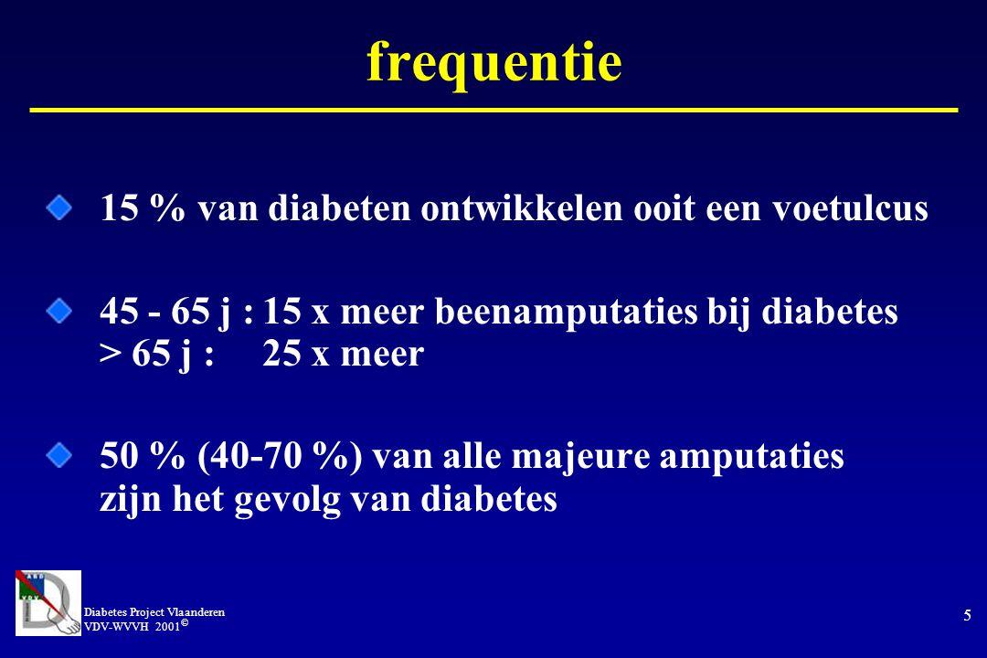 Diabetes Project Vlaanderen VDV-WVVH 2001 © 5 frequentie 15 % van diabeten ontwikkelen ooit een voetulcus 45 - 65 j :15 x meer beenamputaties bij diabetes > 65 j :25 x meer 50 % (40-70 %) van alle majeure amputaties zijn het gevolg van diabetes