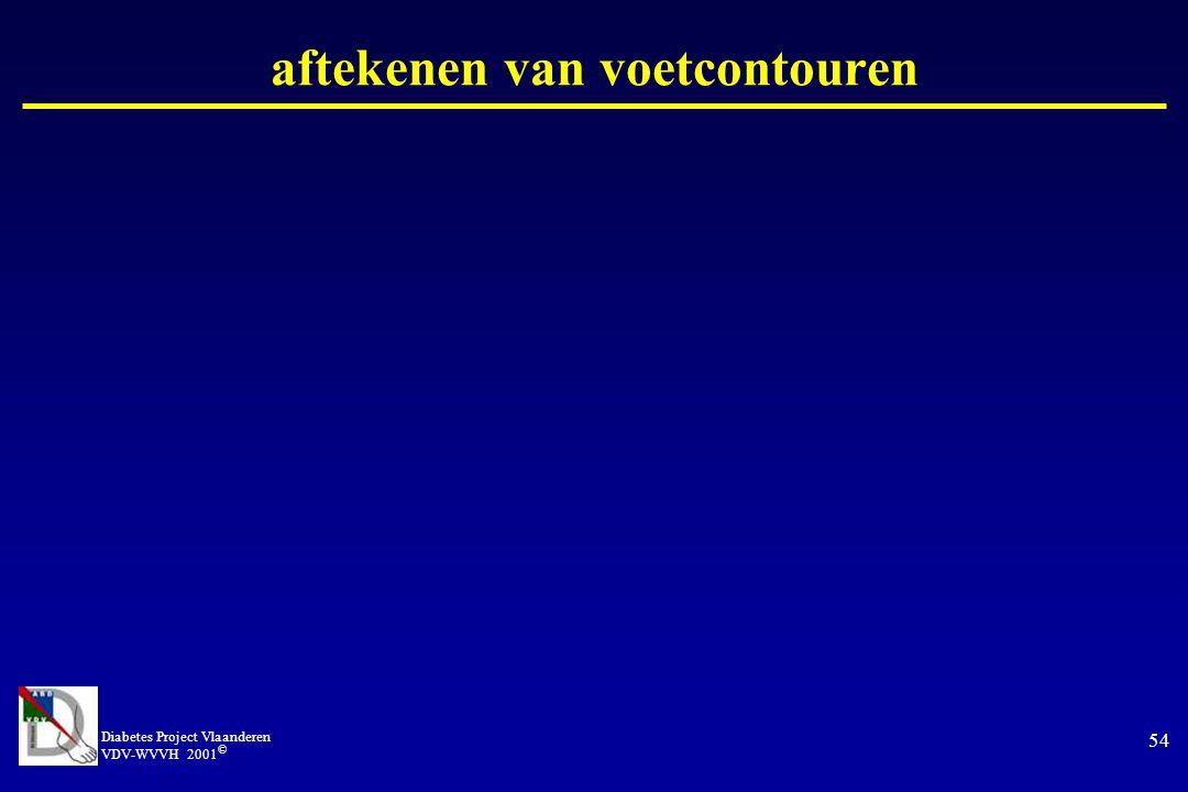 Diabetes Project Vlaanderen VDV-WVVH 2001 © 54 aftekenen van voetcontouren