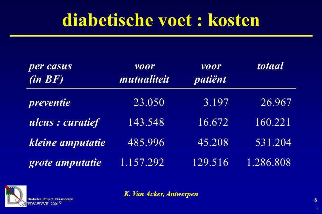 Diabetes Project Vlaanderen VDV-WVVH 2001 © 9 diabetische voet : kosten K.