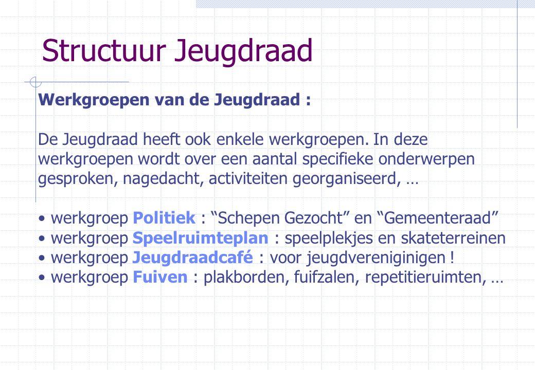 Structuur Jeugdraad Werkgroepen van de Jeugdraad : De Jeugdraad heeft ook enkele werkgroepen.