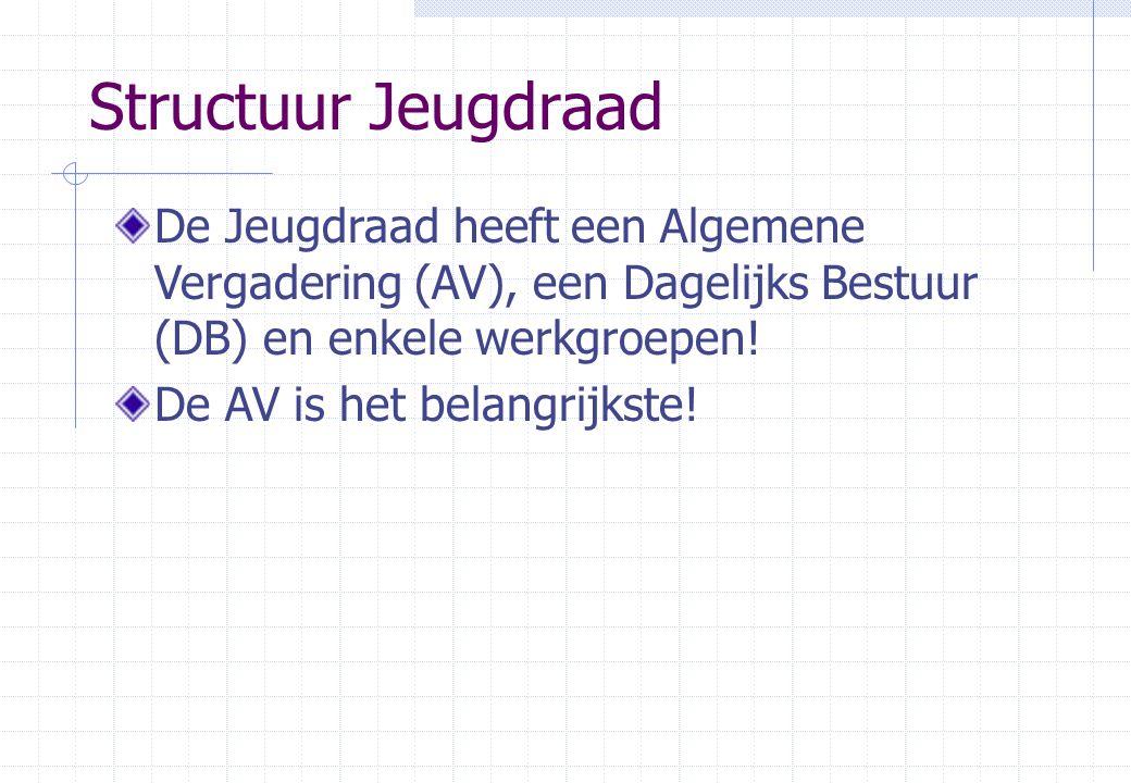 Structuur Jeugdraad De Jeugdraad heeft een Algemene Vergadering (AV), een Dagelijks Bestuur (DB) en enkele werkgroepen.