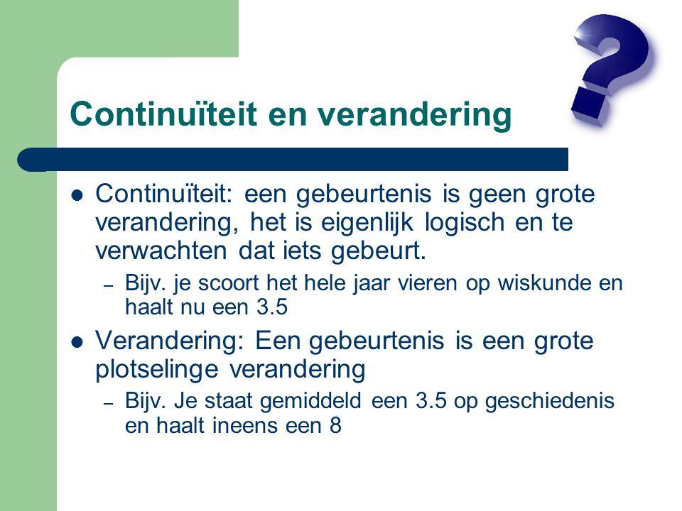 Continuïteit en verandering Continuïteit: een gebeurtenis is geen grote verandering, het is eigenlijk logisch en te verwachten dat iets gebeurt.
