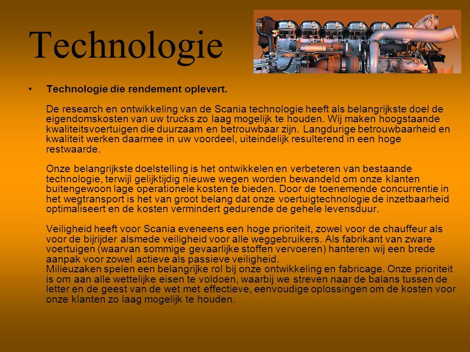Technologie Technologie die rendement oplevert. De research en ontwikkeling van de Scania technologie heeft als belangrijkste doel de eigendomskosten