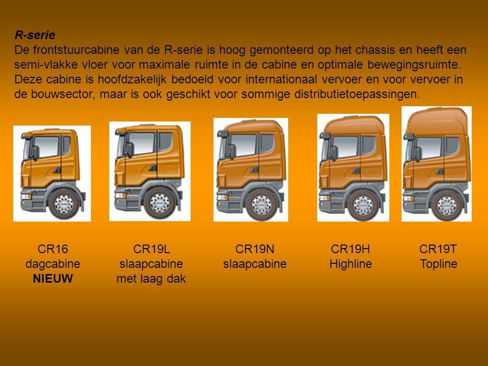 R-serie De frontstuurcabine van de R-serie is hoog gemonteerd op het chassis en heeft een semi-vlakke vloer voor maximale ruimte in de cabine en optim