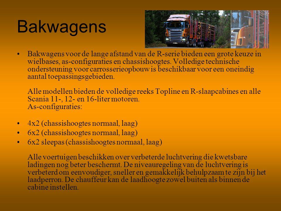 Bakwagens Bakwagens voor de lange afstand van de R-serie bieden een grote keuze in wielbases, as-configuraties en chassishoogtes. Volledige technische