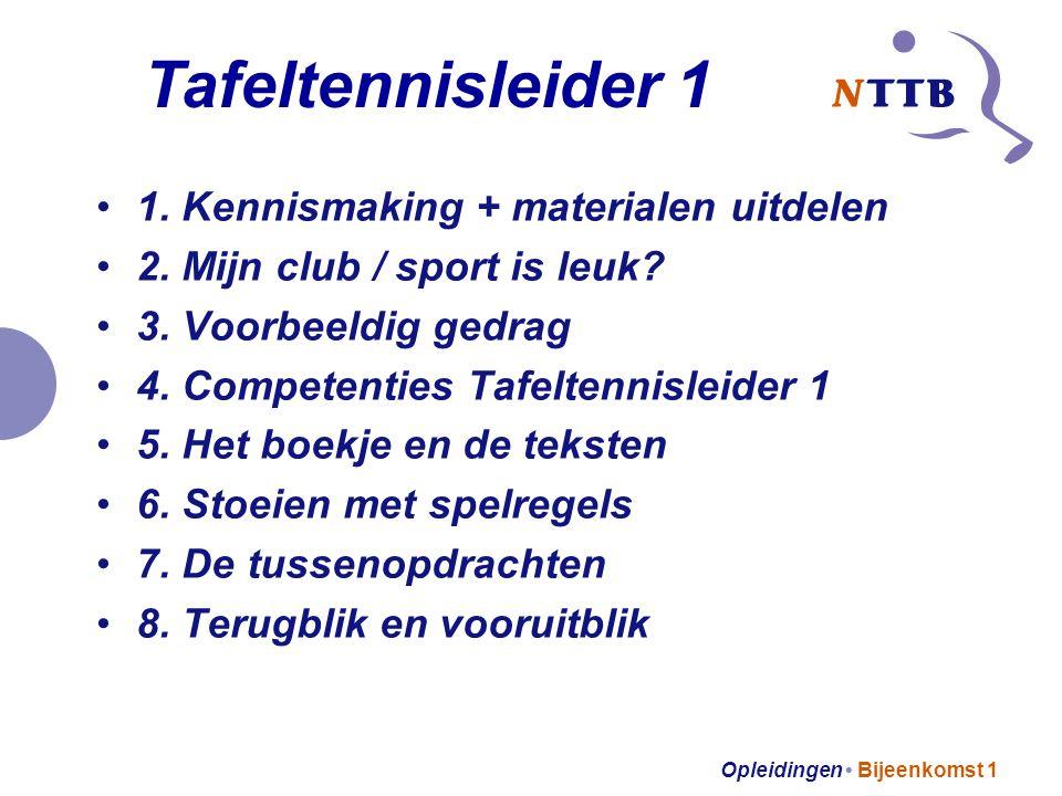 Opleidingen Bijeenkomst 1 Competenties: Waarborgen van de veiligheid van sporters (101) Assisteren bij sportactiviteiten (102) Zorgen voor maatregelen rondom wedstrijden (103) Leercompetentie Burgerschapscompetentie (101 zit verweven in 102 en 103)