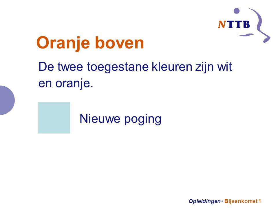Opleidingen Bijeenkomst 1 Oranje boven De twee toegestane kleuren zijn wit en oranje. Nieuwe poging
