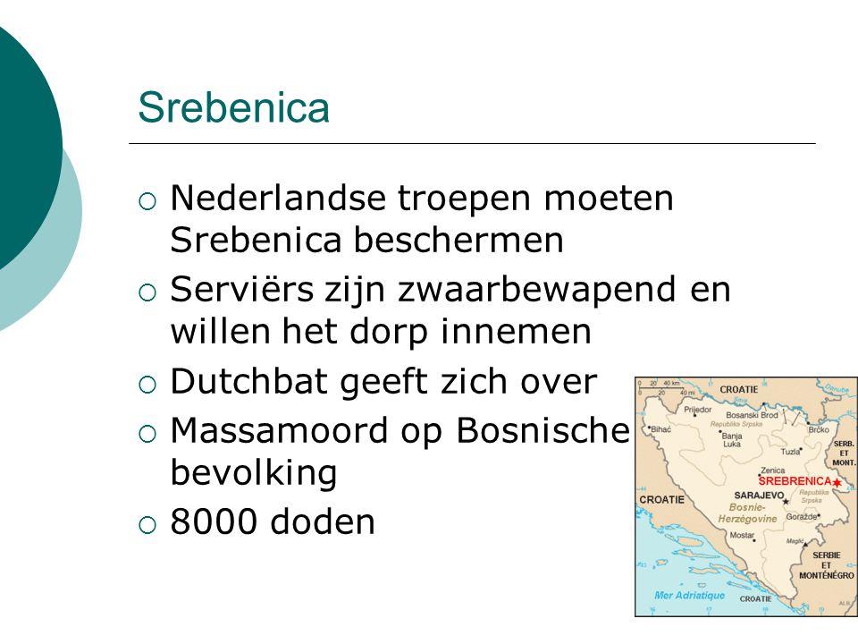 Srebenica  Nederlandse troepen moeten Srebenica beschermen  Serviërs zijn zwaarbewapend en willen het dorp innemen  Dutchbat geeft zich over  Mass