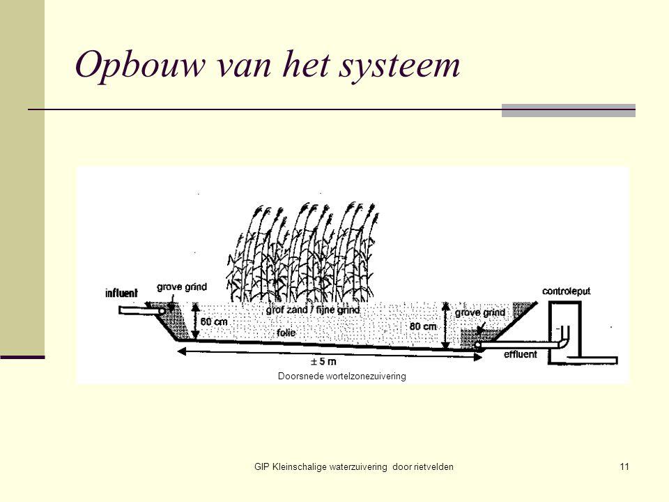 GIP Kleinschalige waterzuivering door rietvelden11 Opbouw van het systeem Doorsnede wortelzonezuivering
