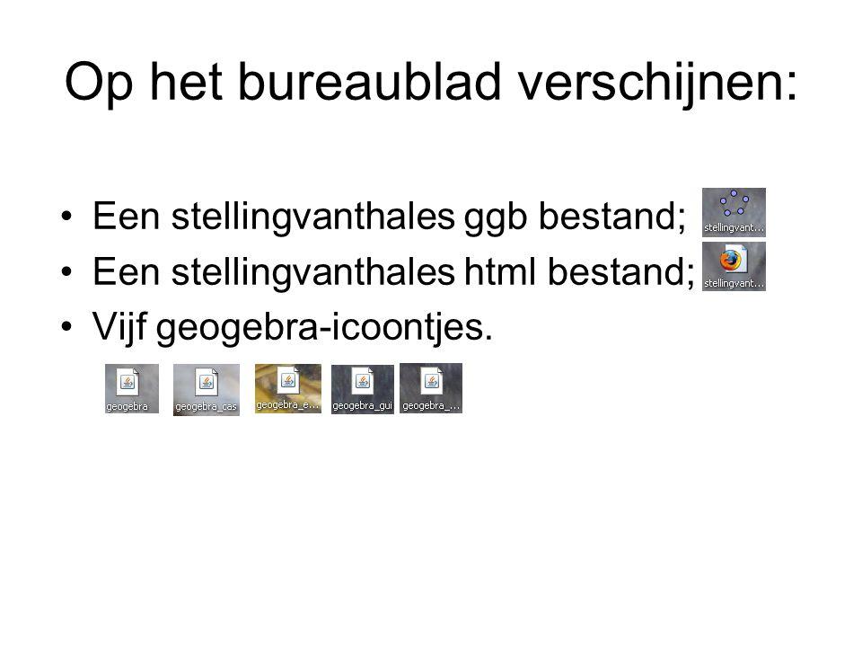 Op het bureaublad verschijnen: Een stellingvanthales ggb bestand; Een stellingvanthales html bestand; Vijf geogebra-icoontjes.