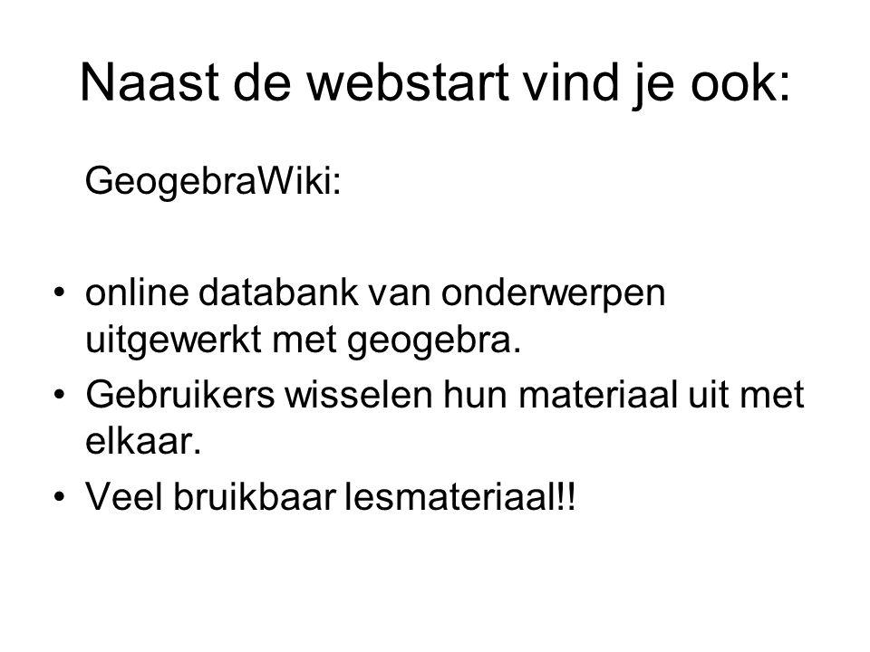 Naast de webstart vind je ook: GeogebraWiki: online databank van onderwerpen uitgewerkt met geogebra.