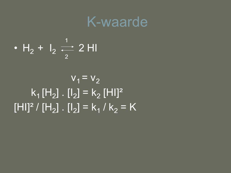 K-waarde H 2 + I 2 2 HI v 1 = v 2 k 1 [H 2 ]. [I 2 ] = k 2 [HI]² [HI]² / [H 2 ]. [I 2 ] = k 1 / k 2 = K 1 2