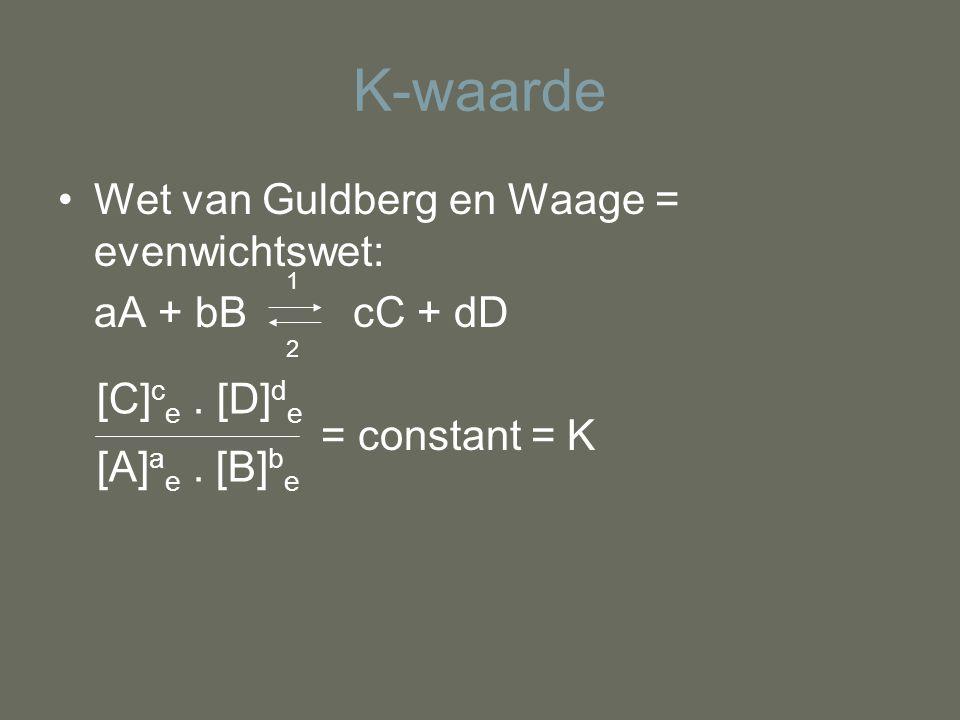K-waarde Wet van Guldberg en Waage = evenwichtswet: aA + bB cC + dD = constant = K 1 2 [C] c e. [D] d e [A] a e. [B] b e