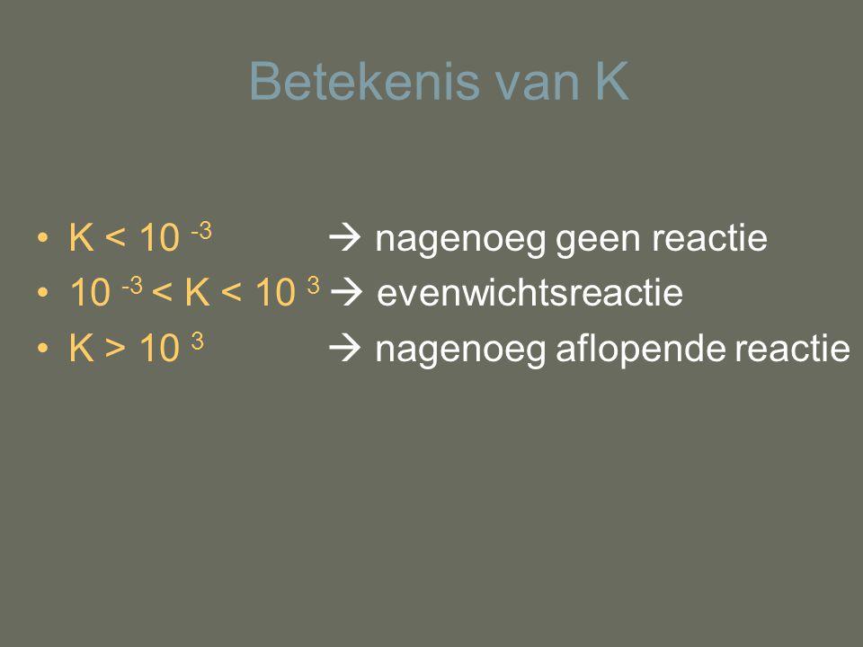 Betekenis van K K < 10 -3  nagenoeg geen reactie 10 -3 < K < 10 3  evenwichtsreactie K > 10 3  nagenoeg aflopende reactie